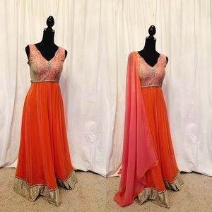 Dresses & Skirts - Orange/Pink Indian Gown
